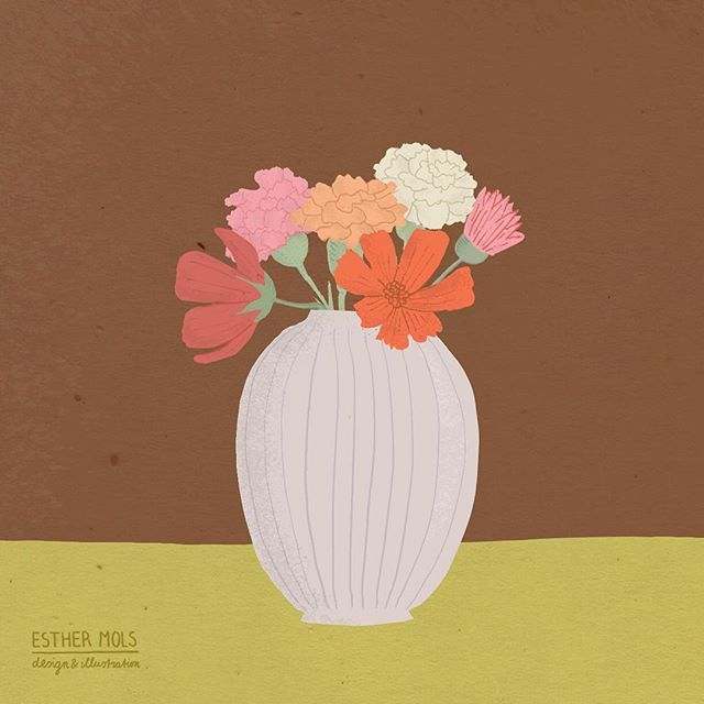 Pastel Flowers in a vase by ©Esther Mols