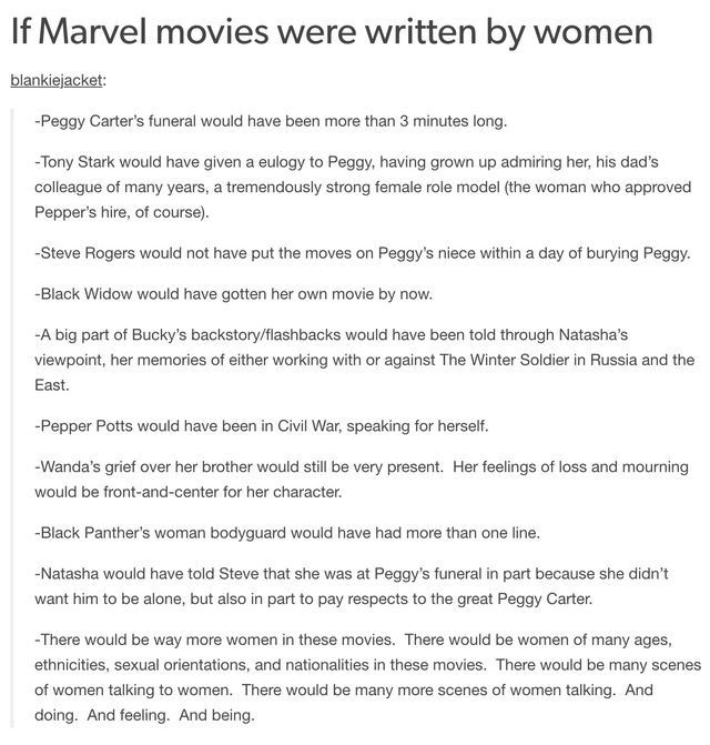 Yup<< marvel really pisses me off sometimes Where's my black widow movie, why was agent carter cancelled?, why is joss whedon still writing films?, like seriously sort yourselves out marvel ffs