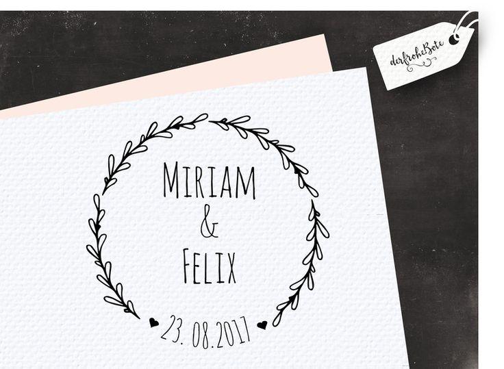 """Namen & Monogramme - Hochzeitsstempel ♥ Stempel zur Hochzeit """"Kränzchen - ein Designerstück von der-frohe-Bote bei DaWanda"""