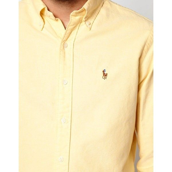 Polo Ralph Lauren Oxford Shirt in Slim Fit ($92) ❤ liked on Polyvore featuring tops, slimming tops, slim fit oxford shirt, slim oxford shirt, beige top and oxford shirts