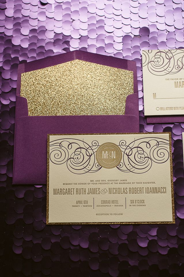 inexpensive wedding invitations with response cards%0A Potential Wedding colors  Purple and gold wedding invitations  gold  glitter wedding invitations  letterpress wedding invitations  fancy wedding  invites