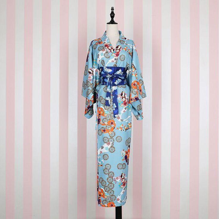 Japanese Kimono Cosplay Costume Traditional Cotton Bathrobes Japan Kimono Flower Yukata Women Bath Robe Floral Sleepwear 82803