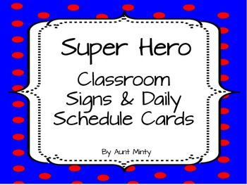 Decorate your classroom using these super cute super hero schedule cards and labels. The cards are designed to be used on your master schedule as well as your daily schedule. Simply print the cards out, laminate them, and attach them to the appropriate schedule.There are 78 cards total.Master Schedule Cards Include: Arrival, Dismissal, Lunch, Recess, Morning Recess, Music, Art, PE, Computer Lab, Library, Brain Break, Classroom Party, Math, Daily Five, Circle Time, Centers, Phonics, Science…