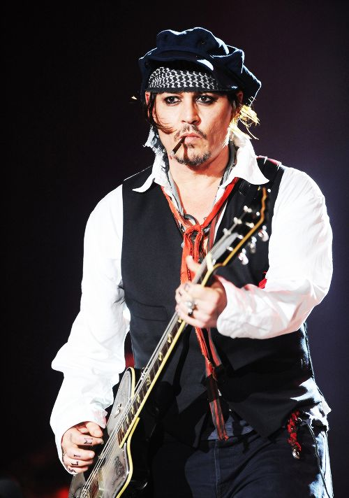 Johnny Depp performs with his band The Hollywood Vampires at Rock in Rio on September 24, 2015 in Rio de Janeiro, Brazil.