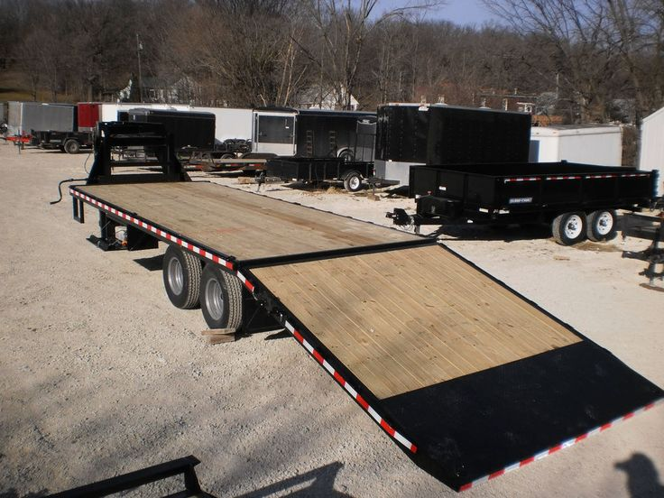 2014 Sure Trac Power Lift Hydraulic Dove Tail 22,000# Gooseneck Flatbed Trailer