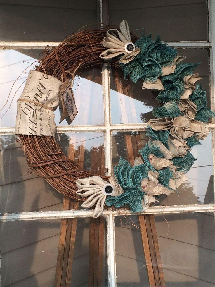 "18"" rag wreath with light blue and cream #grapevine #ragwreath #grapevine #burlap #wreath #birds"