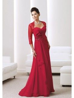 A-Line Sweetheart Neckline Sweep Train Chiffon Mother of the Groom Dress With…