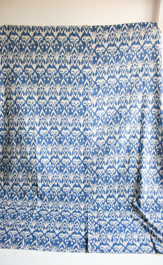 Ikat Quilt in Blue Queen Size by gypsya on Etsy, $138.00