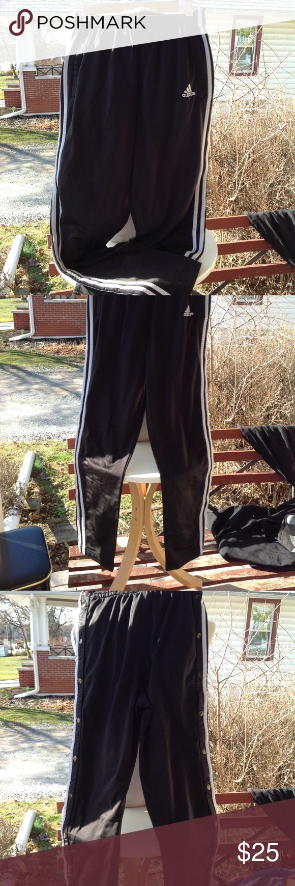 Mens Adidas Pants. Size small, black and white, has snaps down the side, in good condition. adidas Pants Sweatpants & Joggers