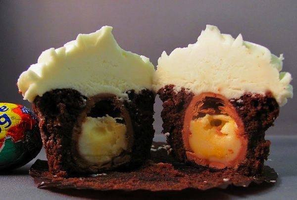 Cadbury Egg inside chocolate cupcake. This should be illegal....
