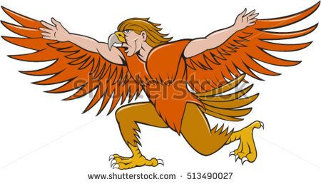 Illustration of a Lleu  or Lleu Llaw Gyffes, half man half eagle spreading wings viewed from the side on isolated white background done in cartoon style.  #Lleu #cartoon #illustration