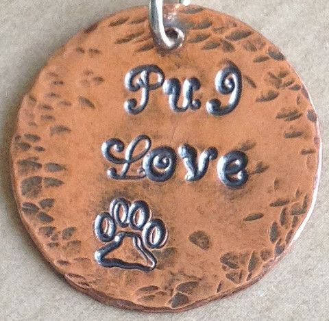 Pug Love Hand Stamped Copper Pendant by K9 Aroma | K9Aroma