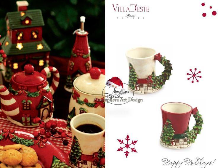 VILLA D ESTE Tazza colazione CHALET regalo decorazione Natale