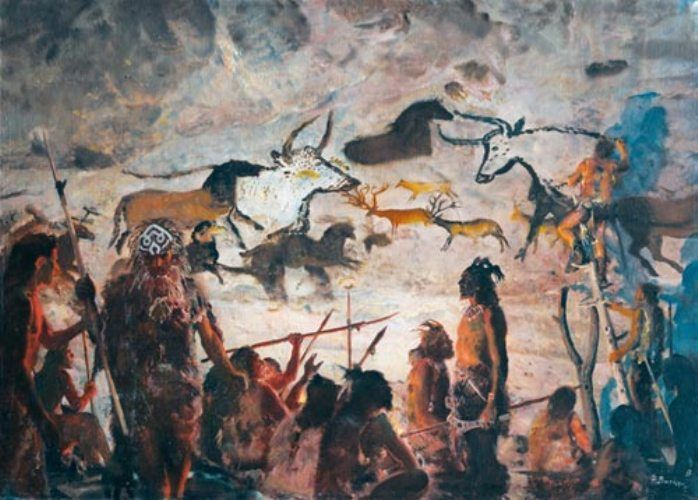 Zdeněk Burian, the creation of a cave painting in the Upper Paleolithic of Europe