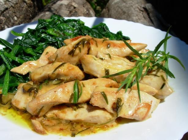 Très Rapide French Tarragon Chicken  5:2 Diet: Comfort Food that's Low in Calories!  This makes a great main meal for a fast day on the 5:2 diet and has only 227 calories per serving, including a generous portion of steamed spinach…….it's comforting for the cooler weather and fills you up for the rest of the day, if you eat it for lunch.