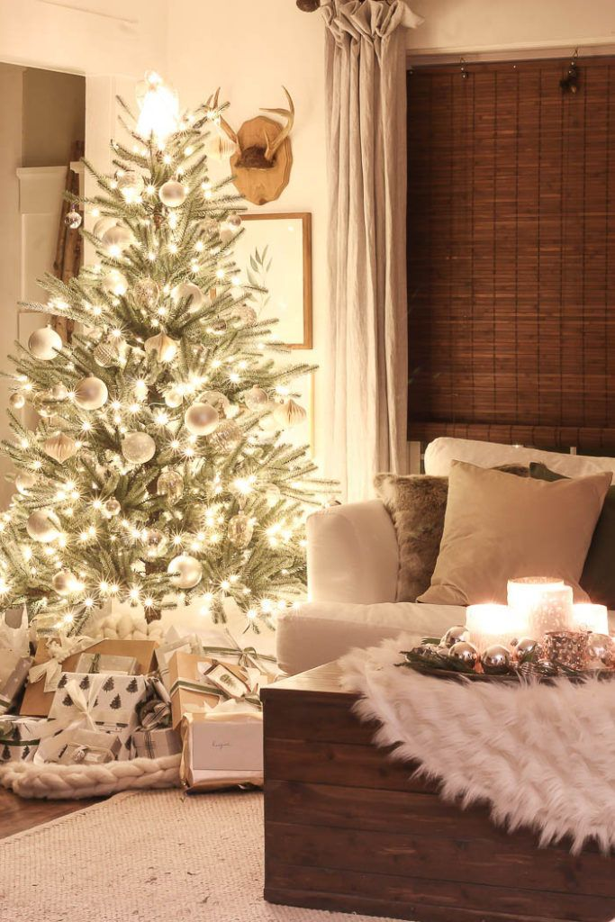 Christmas Lights At Night A Twinkling Christmas Tree In A Farmhouse Living Room A Farmhouse Christmas H
