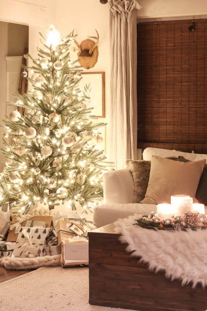 Christmas Lights At Night A Twinkling Christmas Tree In A Farmhouse Living Room Christmas Lights In Living Room Christmas House Lights Lights In Living Room