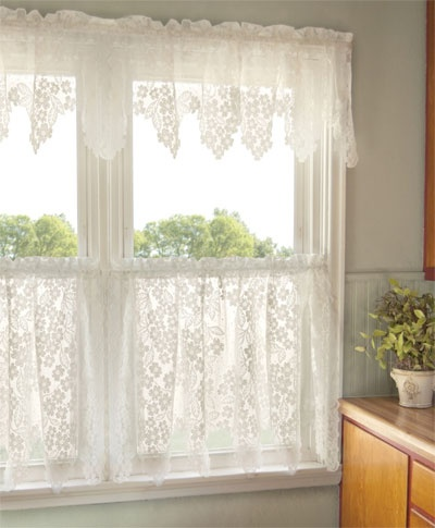 Dogwood Ready Made Lace Curtains Are Perfect For A Kitchen