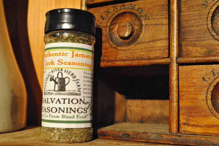 Authentic Jamaican Jerk Seasoning - Use as a dry rub before grilling or with vinegar soy sauce and oil or a fruit juice as a marinade. $7.95  Find it in the Outside In garden shop at the Peconic River Herb Farm! #carribbeanseasoning ##jamaicanjerk #deliverusfromblandfood