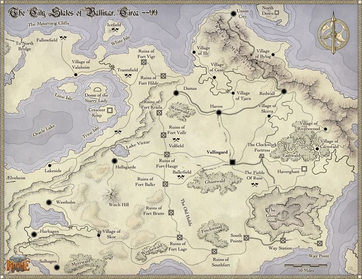 City States of Vallinor Fantasy map RPG and Illustrations