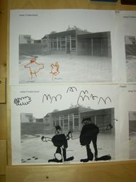 Maak een foto van het schoolplein en kopieer dat voor de kinderen. Daarna mogen ze zichzelf en hun vriendjes op het schoolplein tekenen met stiften.