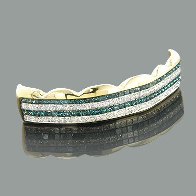 Hip Hop Jewelry 14K White Blue Real Diamond Grillz 4.73