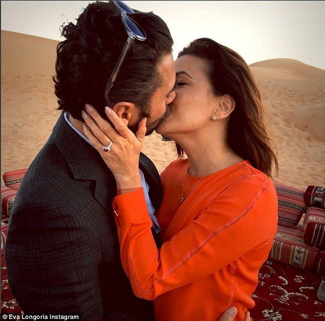 Happy news: Eva Longoria took to Instagram on Sunday to announce her engagement to boyfriend Jose Antonio Baston, 47