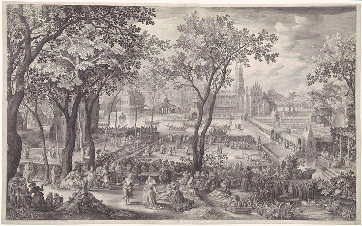 Nicolaes de Bruyn   Feest in de tuin van een paleis, Nicolaes de Bruyn, 1604   Een tuin met op de achtergrond een groot paleis. In de tuin wordt feest gevierd door een groep hovelingen. Er wordt gegeten, gedanst en muziek gespeeld. Overal zitten verliefde paren. Op de achtergrond wordt een toernooi gehouden op het water.