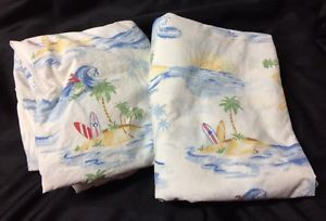 Pottery Barn Kids Twin Fitted Flat Bed Sheet Set Surf Palm Trees Beach Water Red | eBay