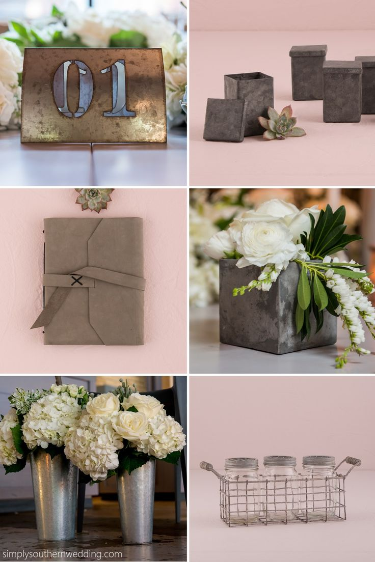 Create a modern industrial wedding aesthetic with these easy-to-incorporate rustic, urban-inspired wedding decorations and favors.