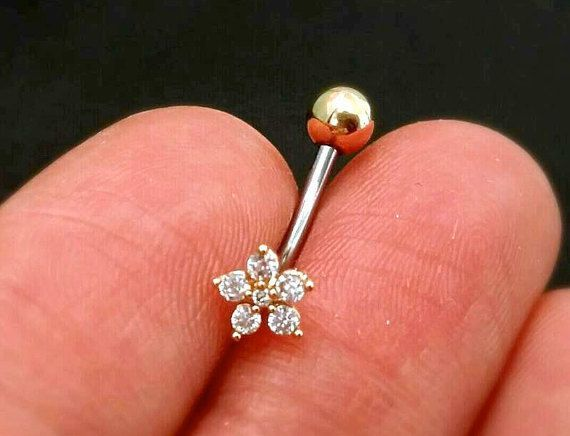 16g CZ Flower Belly Button Ring rose gold by ShopOrigamiJewels
