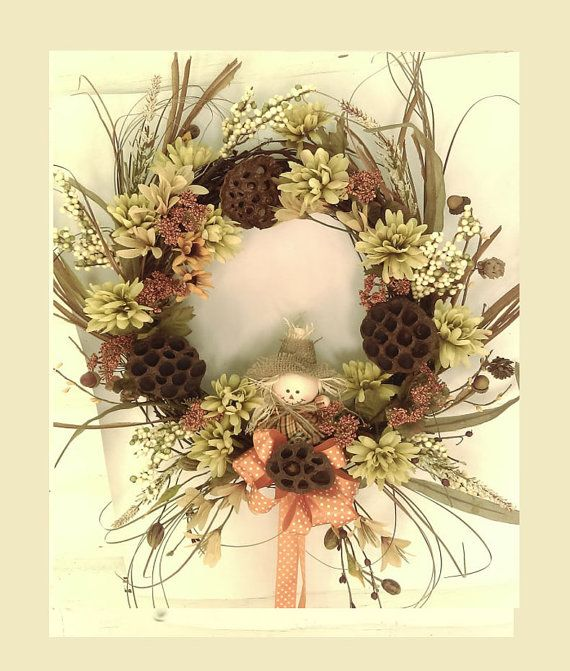Fall Front Door Wreath Grapevine wreath with by ThePetalShop
