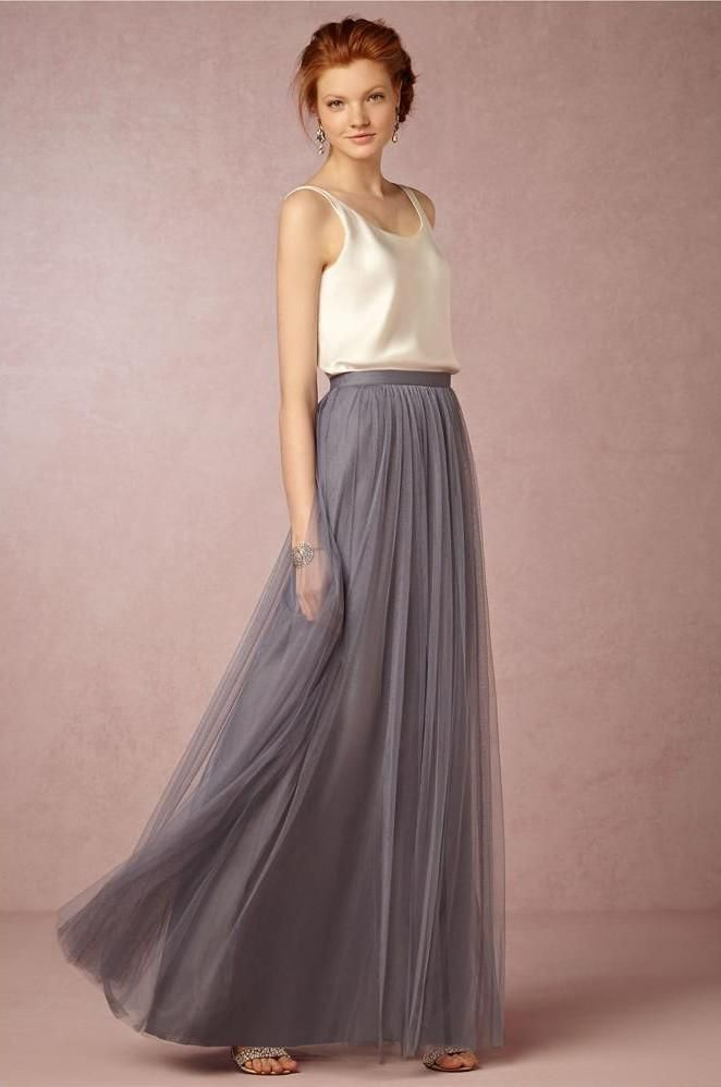 8301c42768a 2019 Summer Style Pleats Soft Tulle Long Skirts High Waist Pleats Tulle 3  Layers Tulle One Layer Sage Gray  Burgundy Champagne From Lpdress