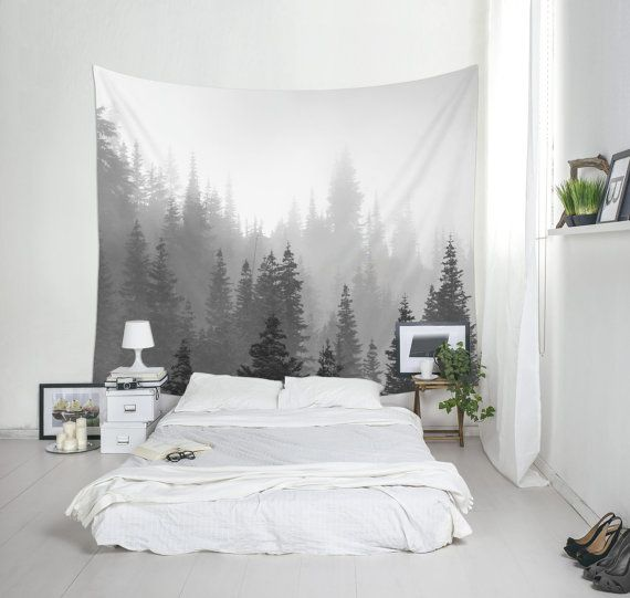 88 x 104 Incehs - $126 - Tree Tapestry Black And White Landscape Photo by Macrografiks
