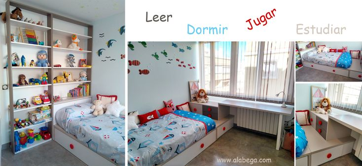 Composición de dormitorio de niño. Temática de fondo marino. Diseñado por Alábega