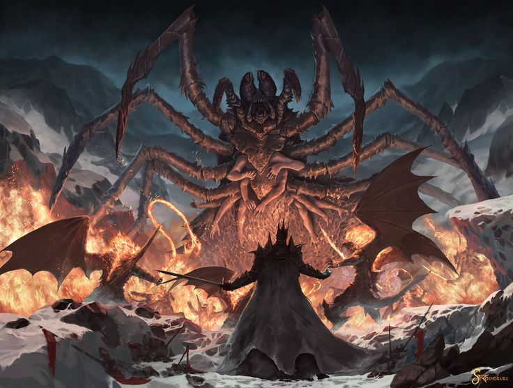 """""""Ungoliant demanded that Morgoth surrender to her the Silmarils. However, Morgoth refused, and she attacked him in response. Weaving her dark webs, she attempted to enmesh him in net and take the Silmarils and consume them unto utter blackness"""""""