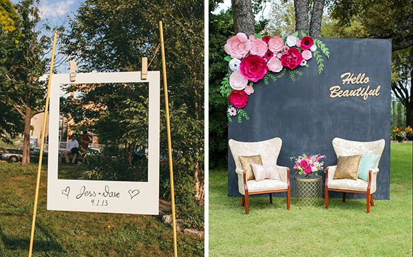 """DIY Photo Backdrops: All wedding events have one thing in common: lots of pictures. Make a cute DIY photo backdrop to remember the event. Either in a adorable oversized Polaroid """"frame"""" (above, left) or with paper flowers and a chalkboard painted sheet of plywood, these props will add so much flair to your engagement party decorations."""