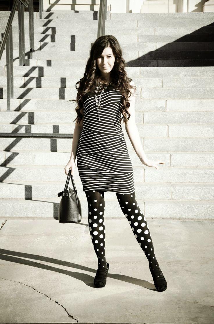 polka dots and stripes, polka dot tights, zig zag dress, black and white, black and white dress, black and white tights, striped dress with ... By @loveirisblog