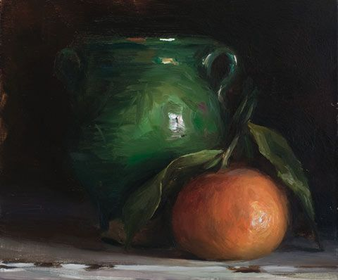 'Clementine and green pot' (2012) by Provence-based British painter Julian Merrow Smith. Oil on board, 7 x 5.5 in. via the artist's site