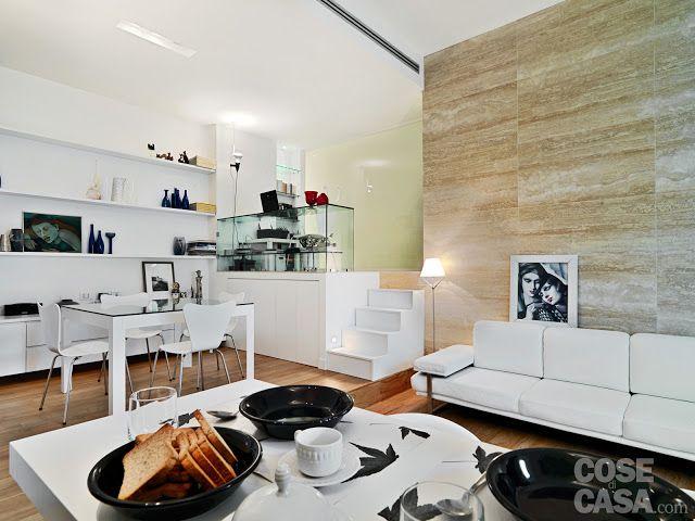 Jurnal de design interior: Amenajare pe nivele diferite într-un apartament de 58 m²