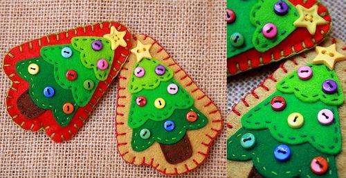 Broches arbol navidad | Fieltro y botones. Para pedidos o cu… | Flickr