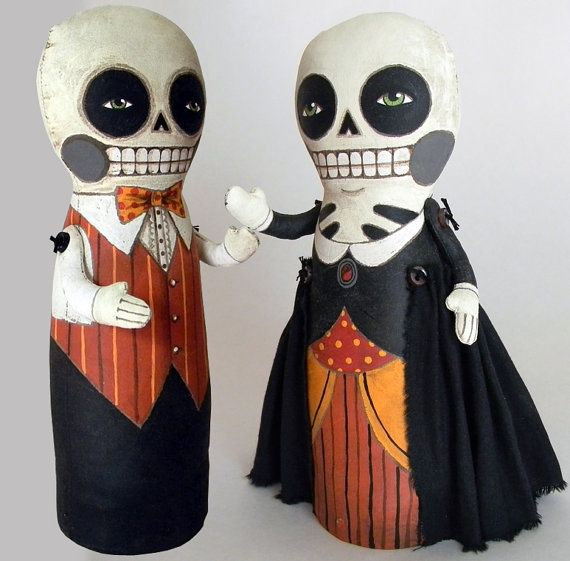 Day of the Dead couple: Ideas, Craft, Horses, Halloween Skeletons, Of The, Dead, Fabric, Day, Art Dolls