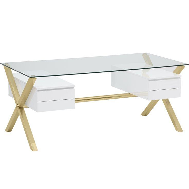 Pangea Beverly Large Desk, White