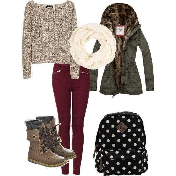 winter outfit. love the chunky knit scarf for those chilly morning on the way to school!
