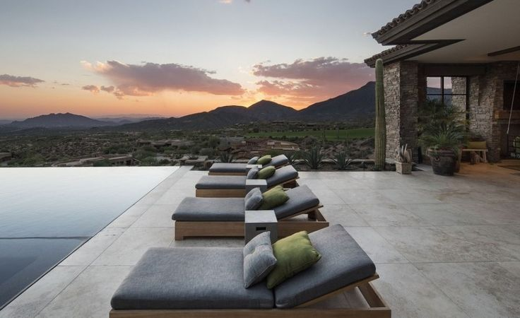 Interior Exquisite Arizona Desert Mountain Retreat With Comforting Views: Great Design Of Exterior New House With Outdoor Swimming Pool  In Rectangle Shape With Four Charming Bed Pool Also White Colour Of Marble Floor