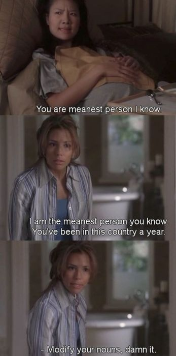 You are meanest person I know. You are the meanest person I know. You've been in this country a year, modify your nouns damn it. -Gabrielle of Desperate Housewives