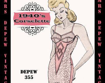 ETSY Patterns $ Long line bras, girdles, garters
