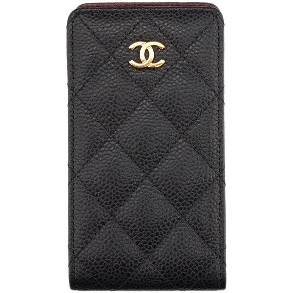 Pre-owned Chanel Black Caviar Quilted Leather iPhone 4 Case (4 745 ZAR) ❤ liked on Polyvore featuring accessories, tech accessories, phone and chanel