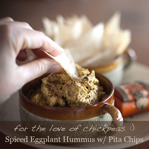 Spiced Eggplant Hummus w/ Pita ChipsAppetizers Parties Food, Spices Eggplants, Num Num, Delicious Yummy, Appetizers Side Snacks, Eggplants Hummus, Appetizers Sides Snacks, Vegetarian Snacks, Pita Chips