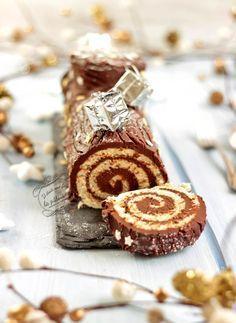Bûche de Noël roulée au chocolat, recette facile et rapide ! #buche #chocolat